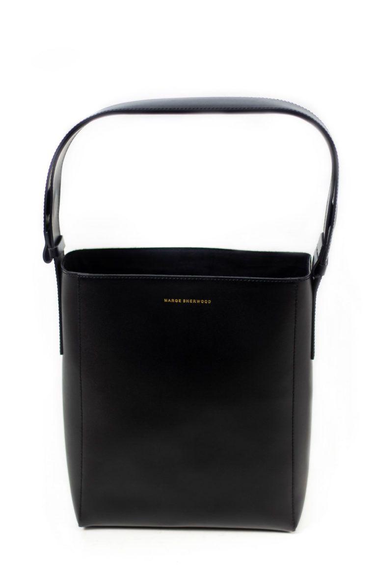 How sac cabas en cuir noir signé Marge Sherwood