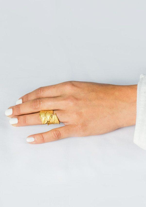 bague Eternelle I argent massif doré or 18 caratsI Elliade I vue portée I Label AÉ Paris