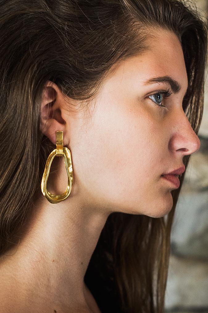 Boucles d'oreilles laiton doré à l'or 24 carats Bertha