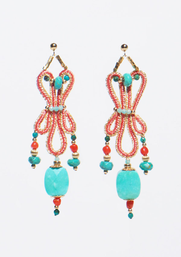 Boucles d'oreilles tissées main I Fils d'or | Turquoises I Nunki by SL I Label AÉ Paris