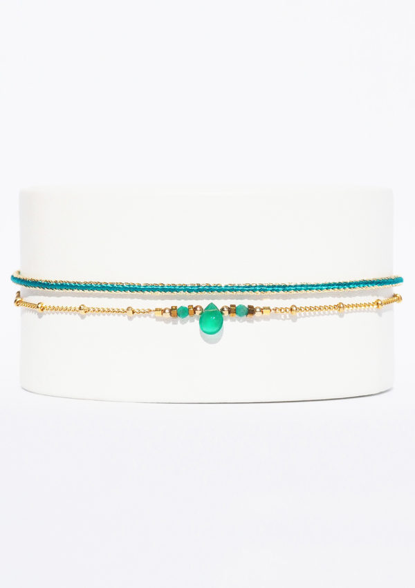 Bracelet tissé main I Fils d'or fils | Onyx verte I Nunki by SL I Label AÉ Paris