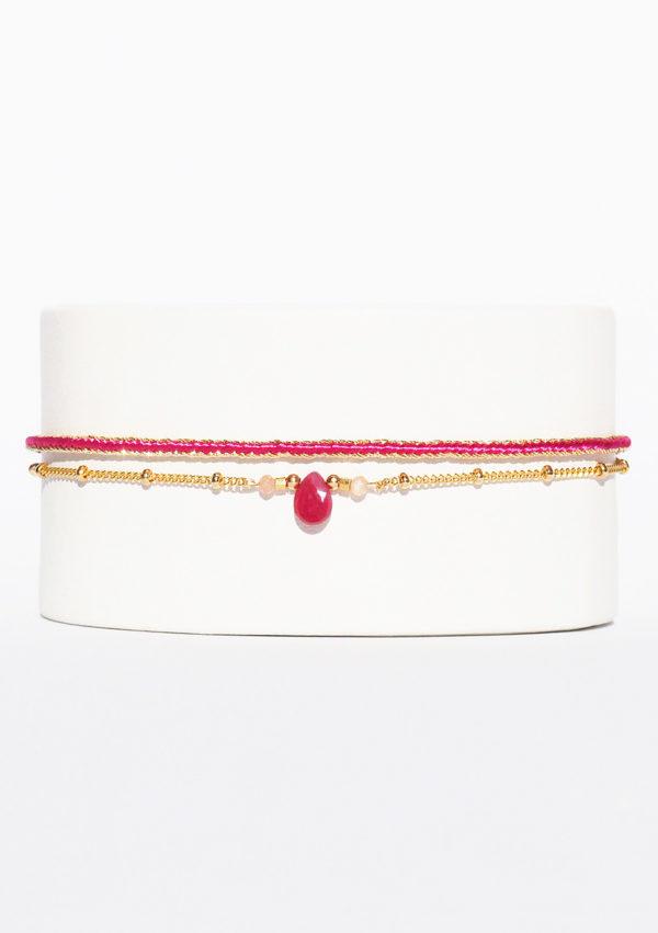 Bracelet tissé main I Fils d'or fils | Rubis d'Inde I Nunki by SL I Label AÉ Paris