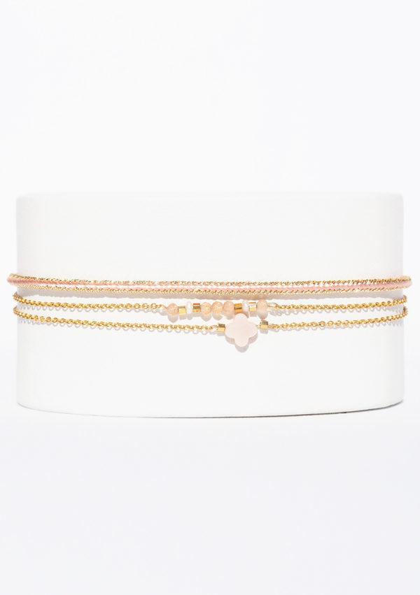 Bracelet tissé main I Fils d'or | Nacre Rose I Nunki by SL I Label AÉ Paris