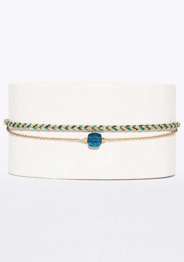 Bracelet tissé main I Fils d'or | Topaze Bleu sky rose I Nunki by SL I Label AÉ Paris