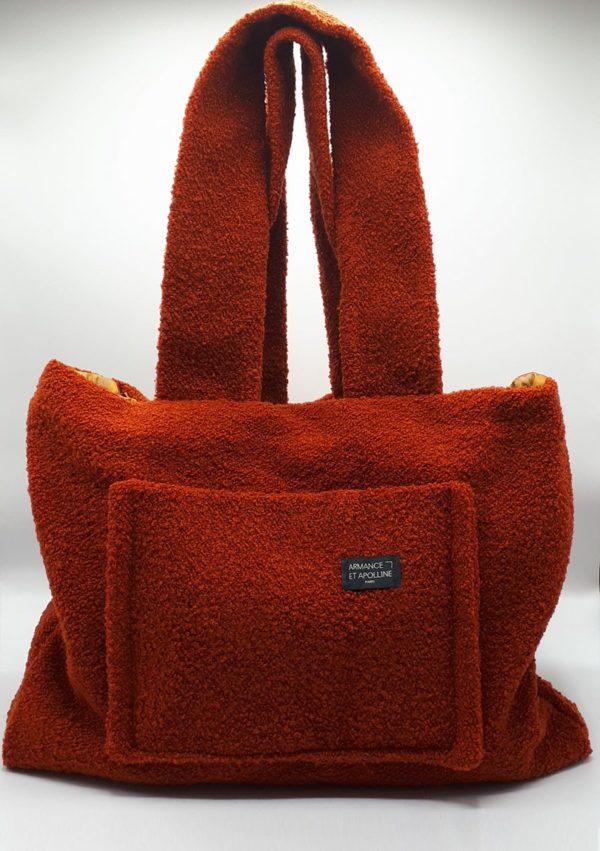 Cabas medium de ville orange I En toile de coton et soie I Armance&Apolline I Label AÉ Paris