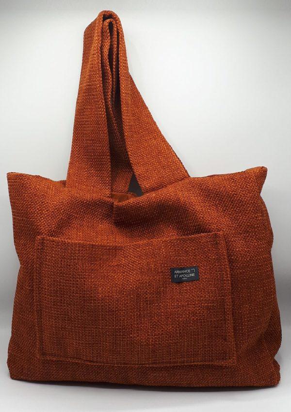 Cabas medium de ville de couleur orange I En velours de coton et soie I Armance&Apolline I Label AÉ Paris