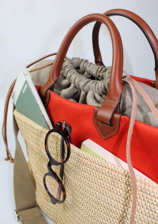 cabas I raphia, lin, cuir végétal I 10-03-53 I vue en détail I Label AÉ Paris