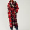 Manteau long en laine à carreaux rouges personnalisabe du créateur Tremblepierre - 1