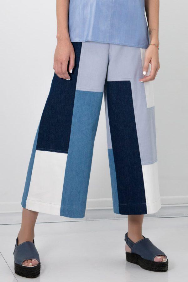 Pantalon large cropped I Patchwork de coton et denim I Anissa Aïda I Vue en détail I Label AÉ Paris