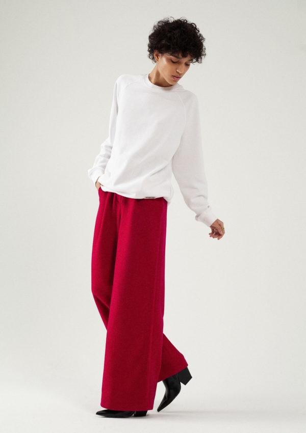 Pantalon large en laine et cachemire fuchsia du créateur Tremblepierre - image 1