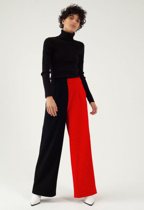 Pantalon large en laine et cachemire – Bicolore Noir/rouge – Tremblepierre | Label AÉ - Image 2