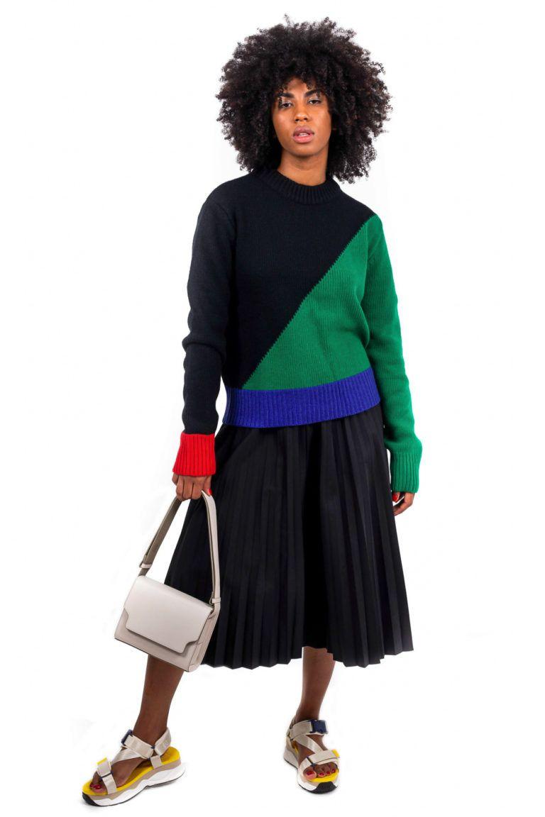 Pull en laine multicolore à manches longues Rocketxlunch