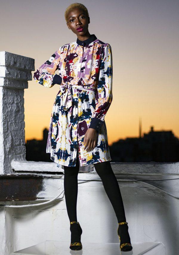 Robe chemise I soie impression I Patrick Cupid I vue portée I Label AÉ Paris