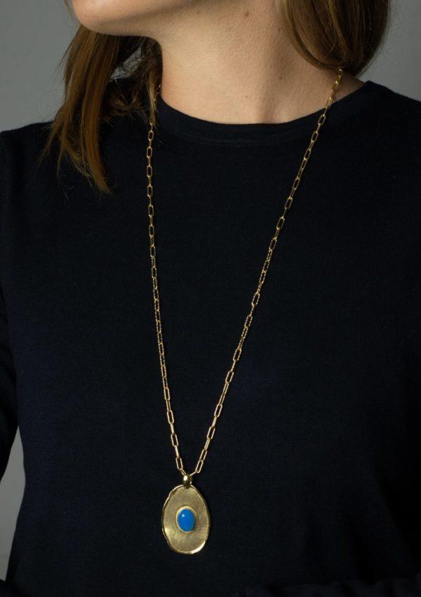 Sautoir I jade bleu argent doré or fin I Elliade I vue de face I Label AÉ Paris