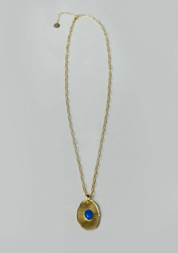 Sautoir I jade bleu argent doré or fin I Elliade I Label AÉ Paris